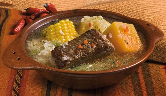 Cazuela ...( is a typical dish of Chile, made with a barrage of meat or chicken, plus mixed vegetables: squash, corn, potatoes. Sometimes rice is added, chuchoca or other vegetables).