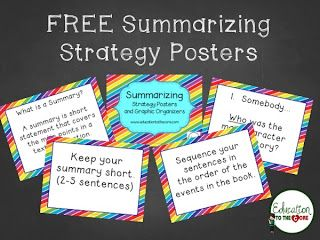 Education to the Core: Free Summarizing Strategy Posters!