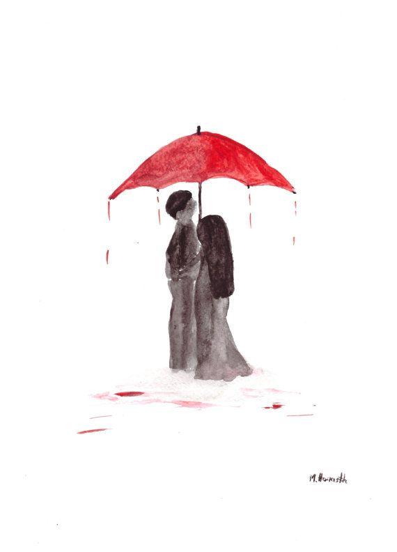 Love couple with red umbrella original watercolour by artbymonika