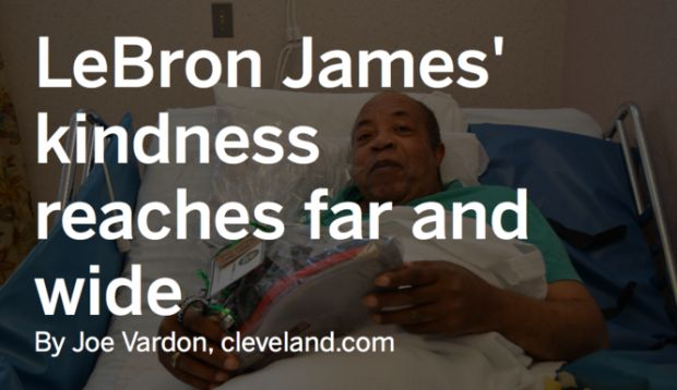 LeBron James sent Walter Robinson, 70, who is bedridden at Menorah Park nursing home, a care package including Cavs game tickets. The gesture brought the man to tears.