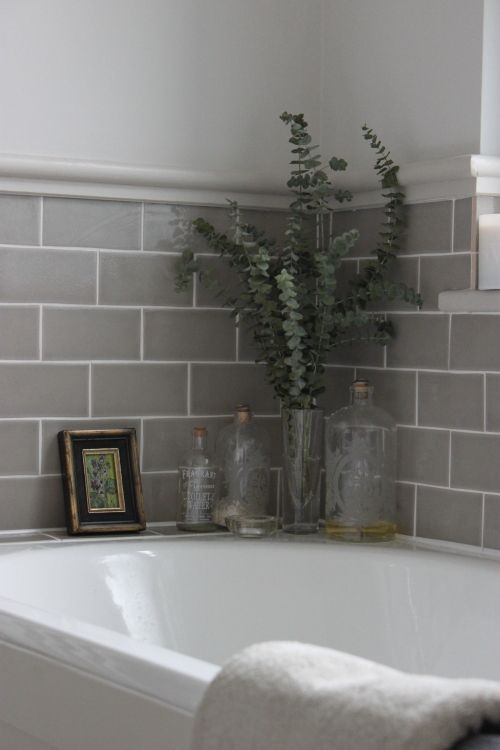 Paint current tiles grey and rest of walls white like this
