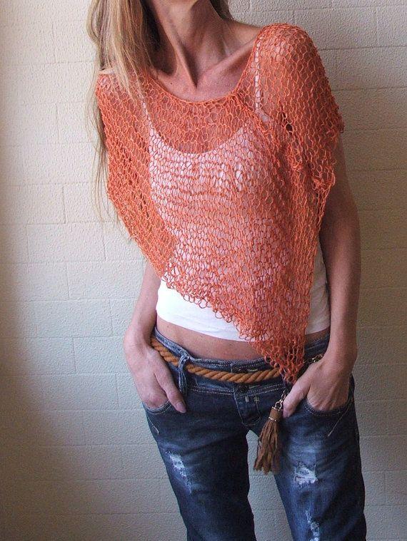 PONCHO light orange summer poncho by ileaiye on Etsy, $57.00