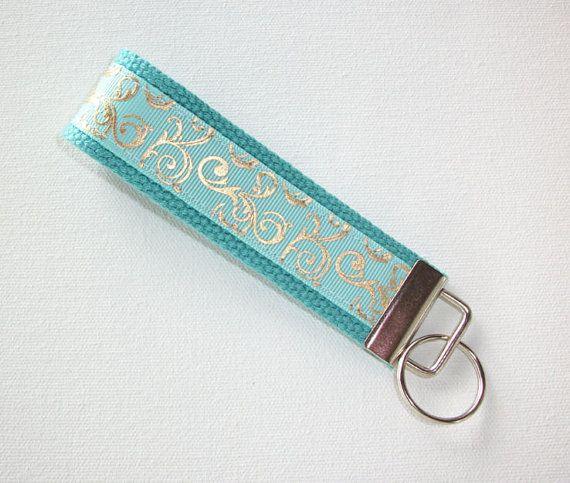Key FOB KeyChain Wristlet metallic gold mint scrolls bridesmaid friend gift coworker natural, aqua, or neon coral