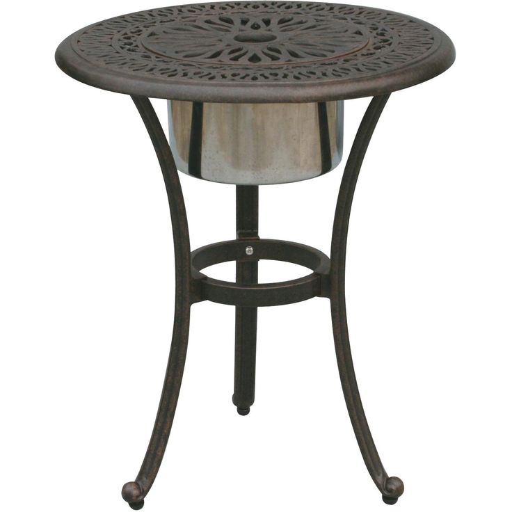 darlee elisabeth 21inch round end table with ice bucket insert closed view patio side