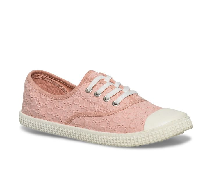 Tennis toile brodée rose - Toiles / Tennis - Chaussures femme