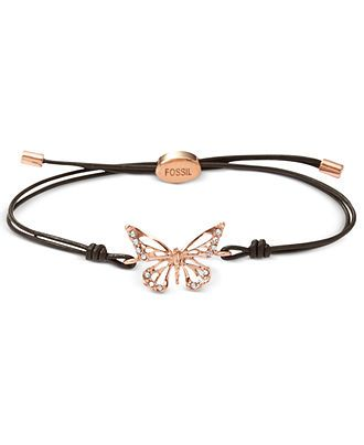 Fossil Bracelet, Rose Gold-Tone Butterfly Black Leather Cord Bracelet - Fashion Jewelry - Jewelry & Watches - Macy's