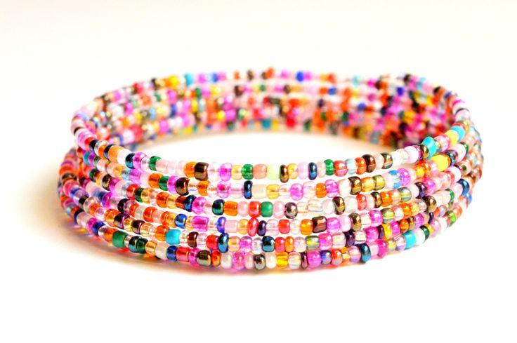 Czech Glass Bracelet // Beaded Bracelet // Christmas Gift// Cuff Wire Bracelet // Multicolor Jewelry by LEMemories on Etsy