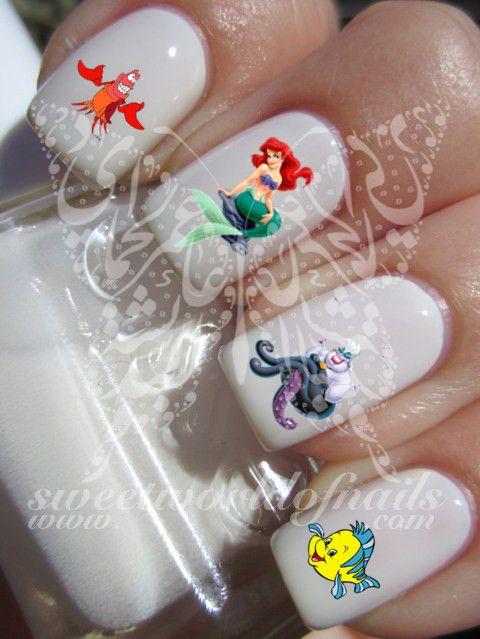 Disney Nail Art Little Mermaid Nail Water Decals Transfers Wraps