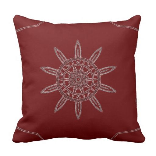 Brown/Red wheel design cotton pillow