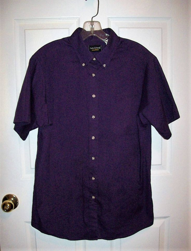 Vintage Ladies Purple Short Sleeve Oxford Shirt Blouse by Lady Edwards Medium Only 5 USD by SusOriginals on Etsy