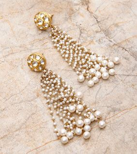 White & 22 Carat Gold Kundan Tops
