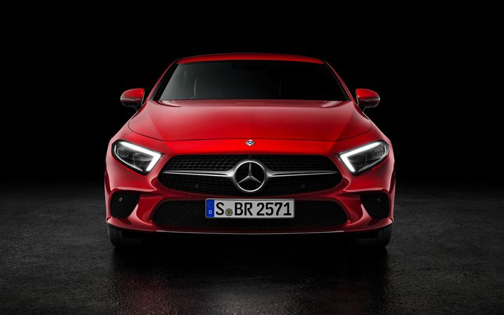 Download wallpapers 4k, Mercedes-Benz CLS 450, 2019 cars, red CLS, luxury cars, new CLS, Mercedes