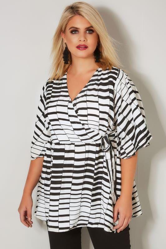 cb37e7d784a05 Plus Size Blouses YOURS LONDON Black   White Chiffon Wrap Blouse With Kimono  Sleeves