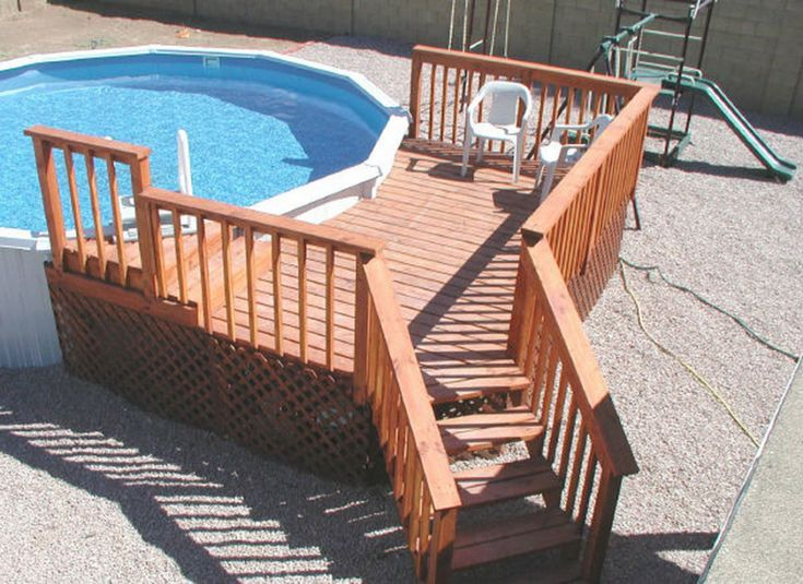 Spellbinding small deck for above ground swimming pool with lattice deck skirting ideas also - Above ground pool steps wood ...
