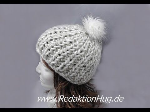 Knooking - Mütze im Patentmuster aus Grande von Junghans-Wollversand - YouTube
