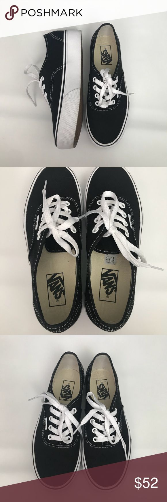 VANS platforms Black Vans platform 2.0/ 4 hole lace up/ worn ONCE!!/ see photos/ too small for me😞 still very NEW, not even broken in❣️🙌🏼  🔸fits a true 8 women or slightly bigger!( I wear 8.5-9) so definitely too small for me.(whaaa)  🔸no trades 🔸comes with box Vans Shoes Platforms