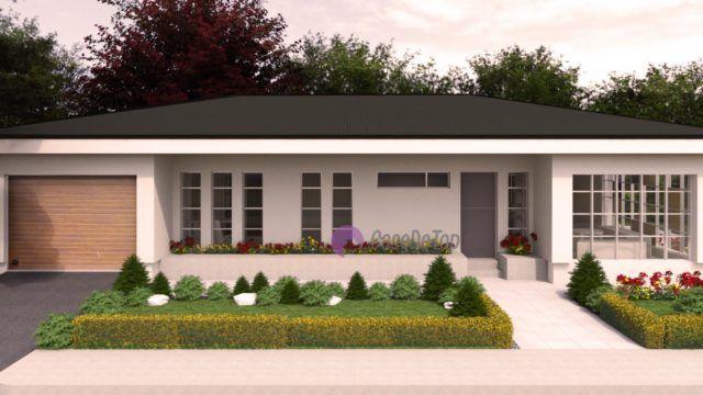 Casa mica organizata pe parter 94 mp utili- Fatada principala| Modern single-family dwelling- The main facade| Etichete: proiecte case, proiecte case mici, proiecte case mici parter, case mici, proiecte case moderne, case moderne