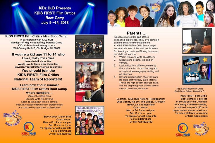 Have you dreamed about being an Entertainment Reporter? Register for KIDS FIRST! Film Critics Boot Camps in NYC, LA, Miami, Seattle, Washington DC, Philadelphia, Old Bridge (NJ) and Denver! July 9 - 14: KiDz HuB National Headquarters, 2685 County Rd 516, Old Bridge, NJ 08857  For more information, visit http://www.kidsfirst.org/become-a-juror/2018.BootCamp.html