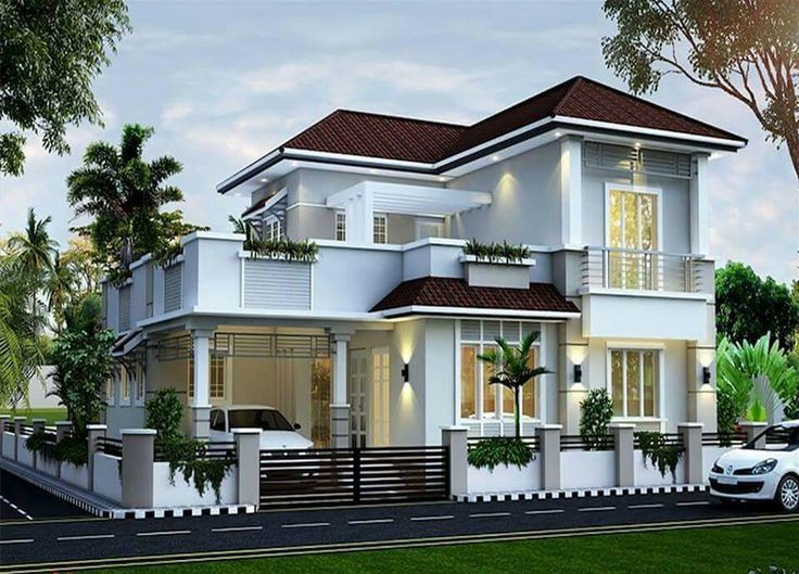 264 best house elevation indian sloping images on for Sloped roof house plans in india