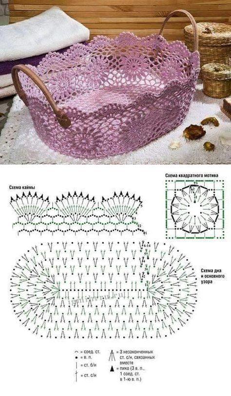 Корзинка со схемой. И красиво, и практично. | crochet en 2018 ...