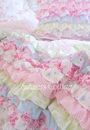 shabby ruffled bedding. I have this in my guest bedroom.