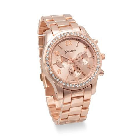 Rose Gold Womans Watch, with Crystals MK Inspired