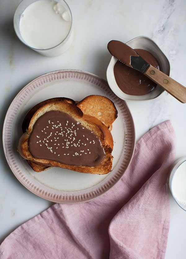 Halva Chocolate Spread is a good(ish)-­for-­you version of Nutella. The tahini provides this deliciously nutty and smooth texture. The cocoa powder immediately makes it a bit decadent.