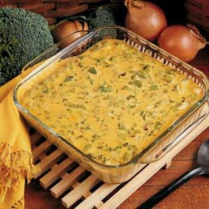 Broccoli Rice Casserole - Everyone loved them and they are a very honest bunch :)  I did make a few changes; instead of the jar of cheese sauce I used Velveeta, and I only used 1/2 an onion but I think a whole one would've been even better.  Definitely using this recipe again!