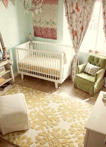 baby girl nursery... the color scheme, the rug, the sofa chair... ,