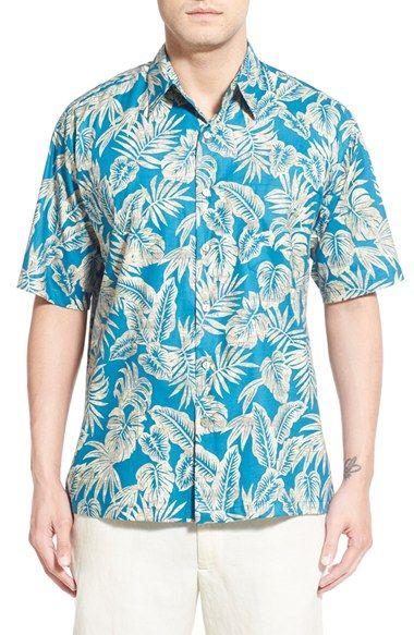 Pinkpum Camisa Hawaiiana Hombre Casual Estampado de Planta Tropical Manga Corta para la Playa, Fiestas, Verano y Vacaciones