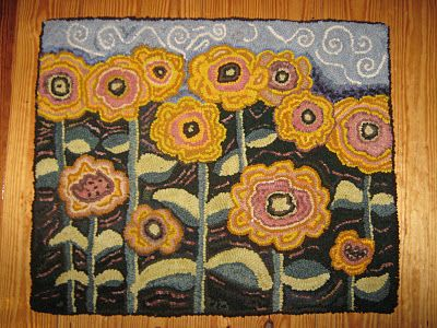 Happy yellow sunflowers hooked rug