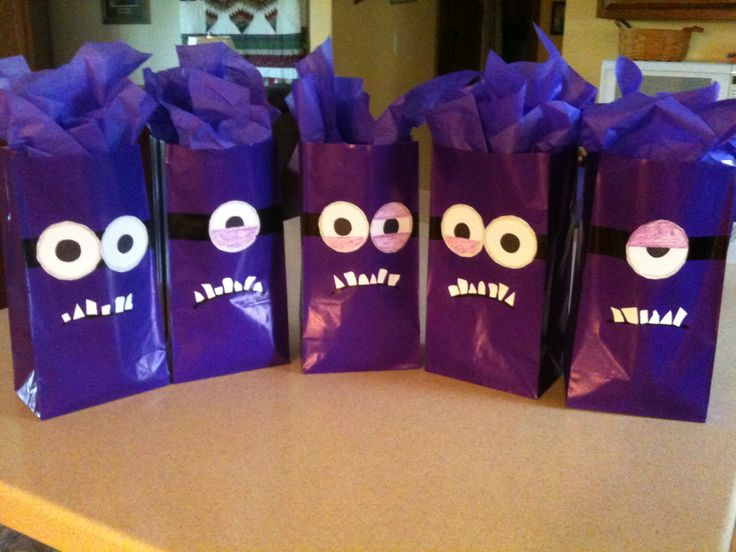 Crazy minion goody bags we made for my daughter's birthday party