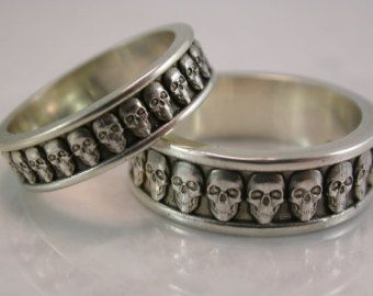 Silver Skull Wedding Ring Set Solid Sterling By Johnny10Rings