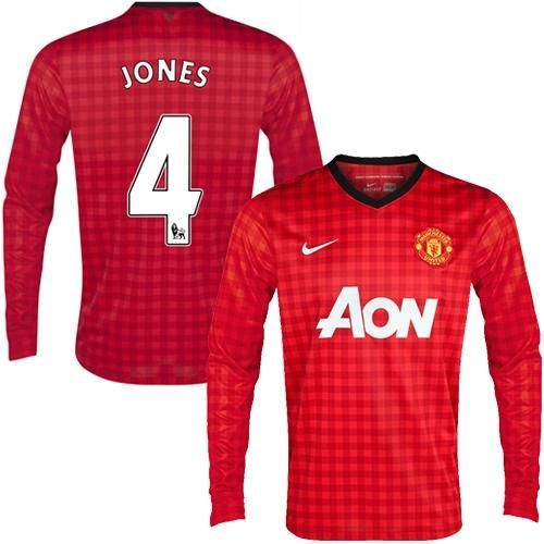 manchester united 4 phil jones long sleeves home soccer club jersey only 22.50usd