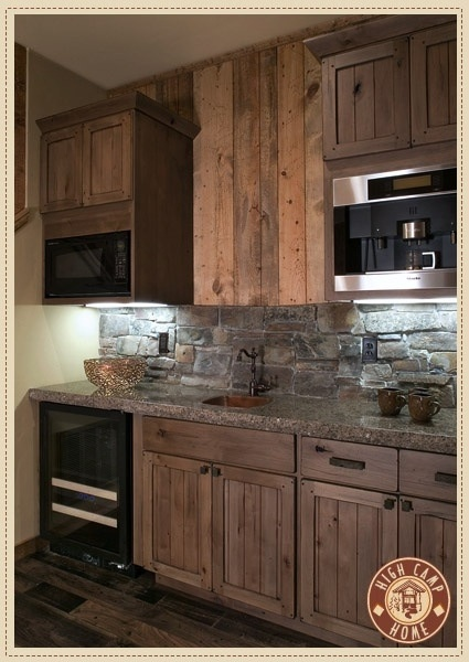 Pin by hayley clayton on future house pinterest cabin for Log cabin kitchen backsplash ideas