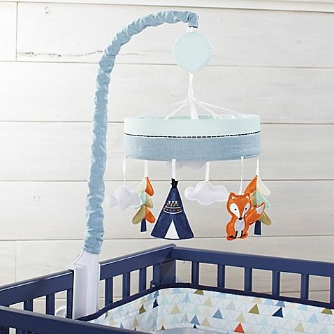 Your little adventurer will love Just Born's charming Adventure Crib Bedding Collection. Lull him off to sleep with the adorable Musical Mobile. It features colorful trees, snowy white clouds, and a playful fox.