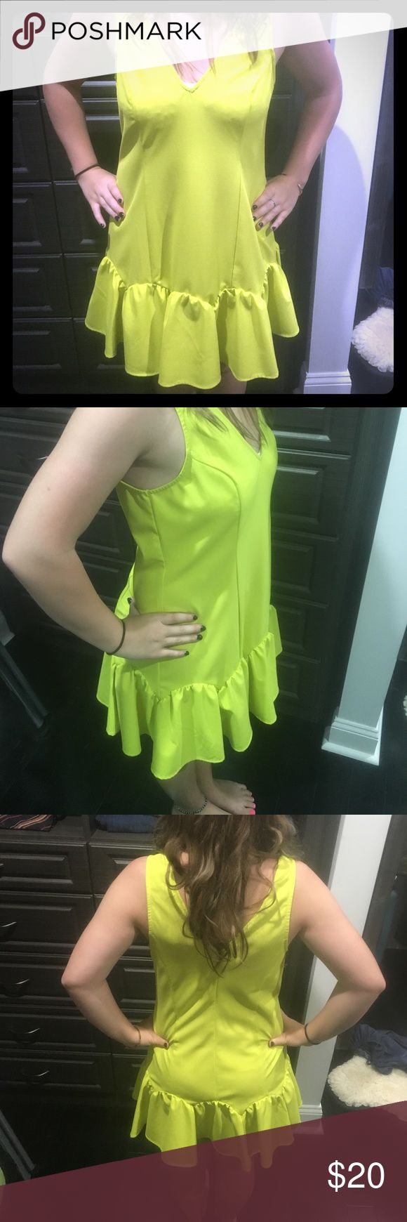 Lime green sundress Mustard seed dress, bought at a boutique , like brand new, great for layering too Mustard Seed Dresses Mini