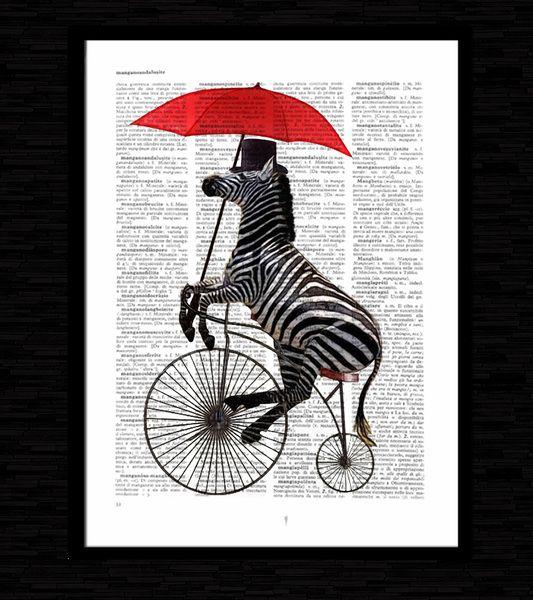 zebra bicicletta,illustrazione, stampa,art, #ZE02 di laura emotional design su DaWanda.com