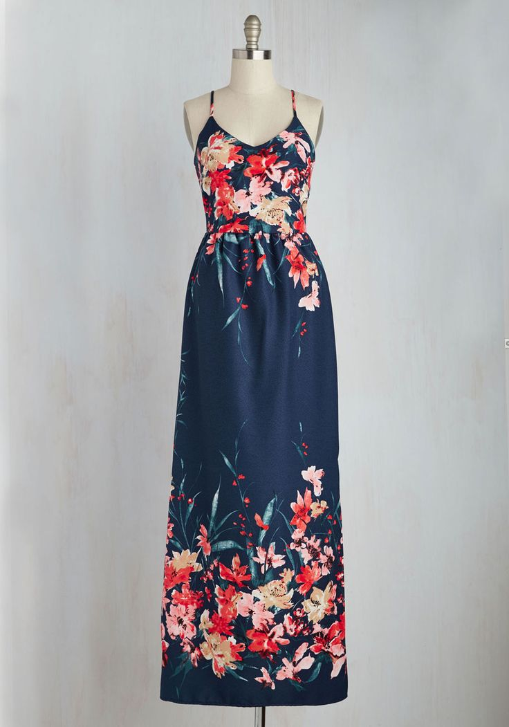 With a heart as warm as yours, it's a no-brainer that this deep blue maxi dress makes for a brilliant personality match. Rich pink and taupe flowers delight on the bodice and hem of this racerback number, while a silver back zipper, a gathered waist, and a vented side bring added vim to your lovely appearance!