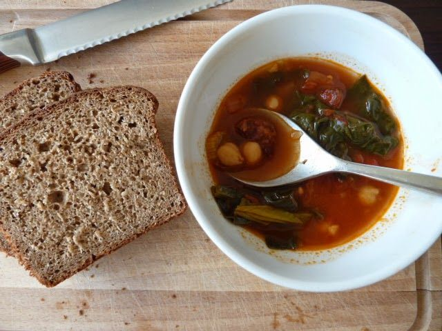 SPANISH CHORIZO AND CHICKPEA SOUP.