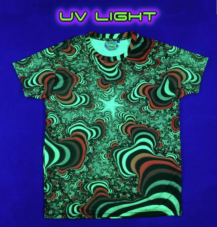 "UV Sublime S/S T : Rainbow Valley Fractal Fully printed short sleeve T shirt. This shirt is an ""All Over"" printed T shirt that will really grab people's attention. The design is printed using sublimation printing on a high quality UV Yellow polyester / Dri-Fit blended shirt. This allows for extremely vibrant colors that will never fade away no matter how many times it gets washed, & results in an extremely soft ""feel"" to the shirt for ultimate comfort. UV active - Glows under black light !"