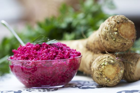 A sauce of freshly grated horseradish, beets and vinegar