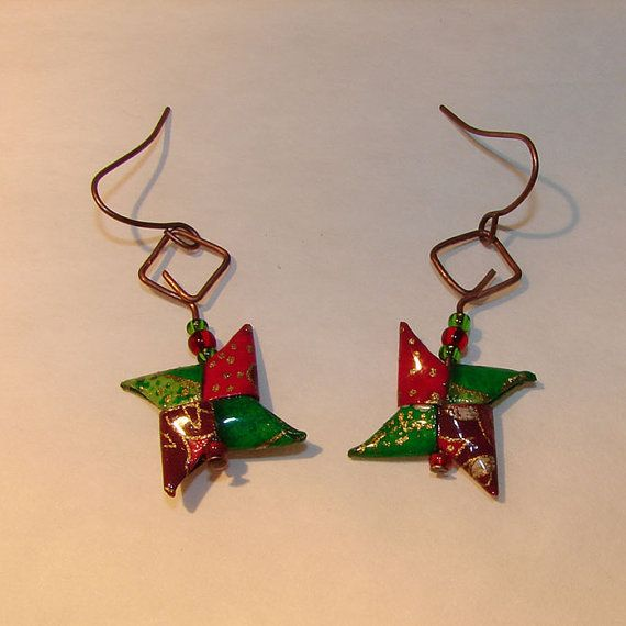 Japanese Earrings-Abstract Origamishuriken-Boucles by OrijujuShop