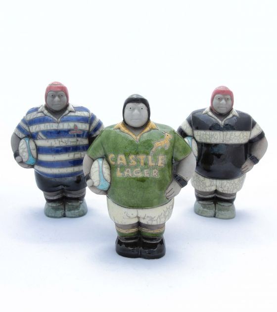 Rugby Player Figurines - Potbelly Handmade Ceramic Figurines. Buy them from Wave2Africa - an online gift and decor boutique.