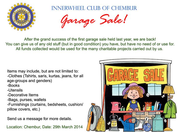 A Garage Sale organized by the InnerWheel Club of Chembur! Come, participate!