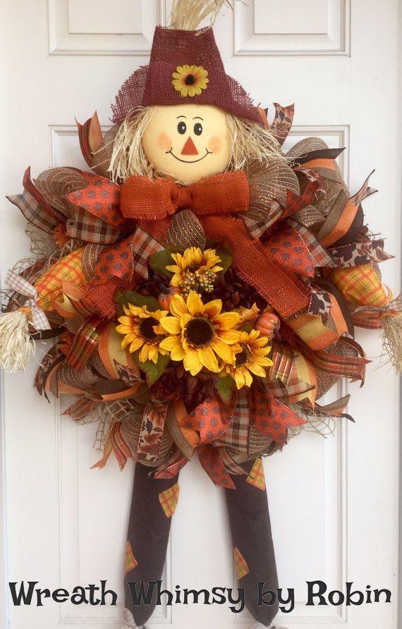 Pád Burlap Mesh strašák věnec s slunečnic, podzimní věnec, podzim dekor, Přední dveře věnec, XL Scarecrow Věnec