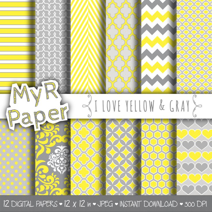 """Digital paper: """"I LOVE YELLOW & GRAY"""" pack of backgrounds with chevron, polka dots, dots, damask, quatrefoil, hearts in yellow and grey di MyRpaper su Etsy With #love by @myrpaper #pattern #design #graphic #paperdesign #papercraft #scrapbooking #digitalpaper"""