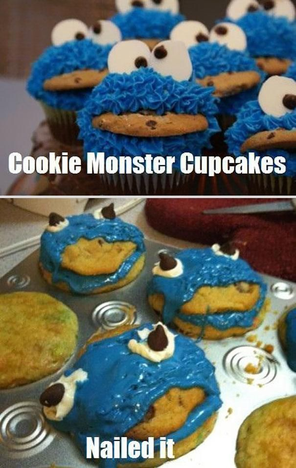 Cookie Monster Cupcakes  Nailed It! Best Pinterest Food Fails Of All Time – BoredBug