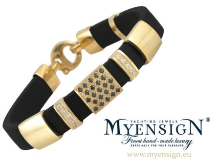 MyEnsign Yachting Jewels - Yellow Gold Bracelet with Black and White Brilliants www.myensign.eu #sailing #yachting #jewelry