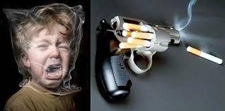 trata de que el niño puede morir de axfisia con la bolsa al igual que también matan una pistola y el tabaco